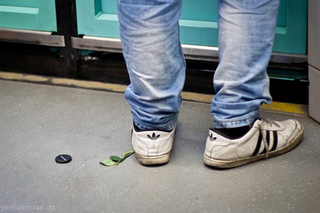 On the metro's floor